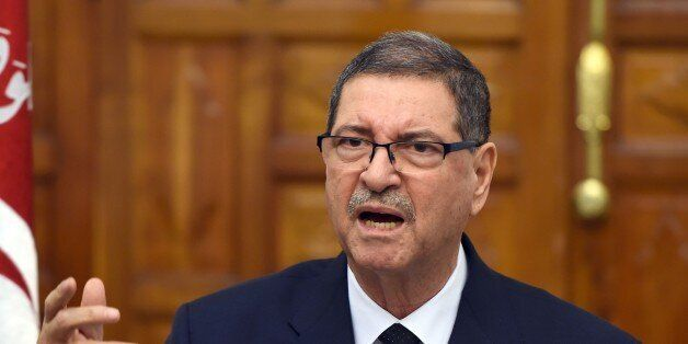 Tunisian Prime Minister Habib Essid delivers a speech following a cabinet meeting on March 8, 2016 in...