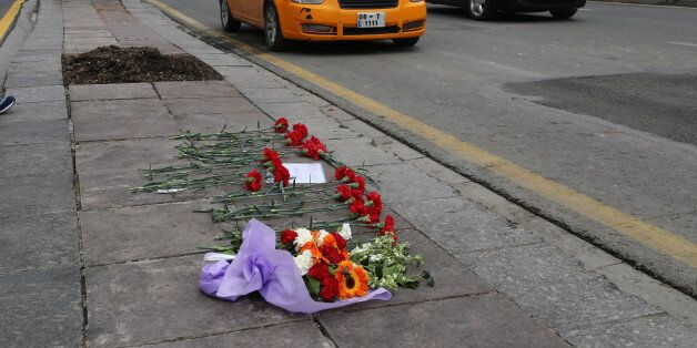 Flowers left by local people at Sunday's explosion site in Ankara, Turkey, Tuesday, March 15, 2016. Turkey...