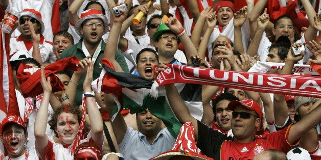 Fans for Tunisia cheer prior to the start of the Ukraine v Tunisia Group H World Cup soccer match at...