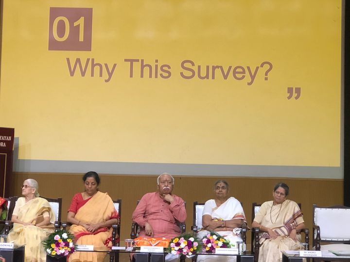 Union Finance Minister Nirmala Sitharaman (second from left) and RSS Chief Mohan Bhagwat (centre) at a presentation at the launch of 'Status of Women in India' report on September 24 in New Delhi.