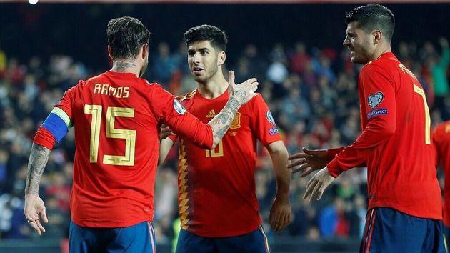 Ramos, Asensio y Morata, en un partido de la