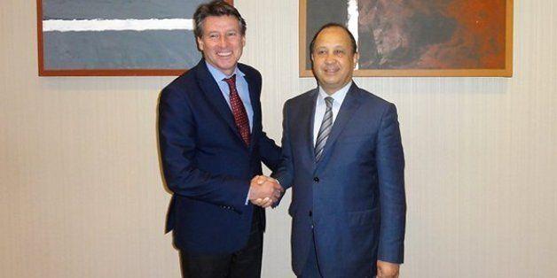 Sebastian Coe, dirigeant de l'IAAF et président de la Diamond League, Abdeslam Ahizoune, président de...