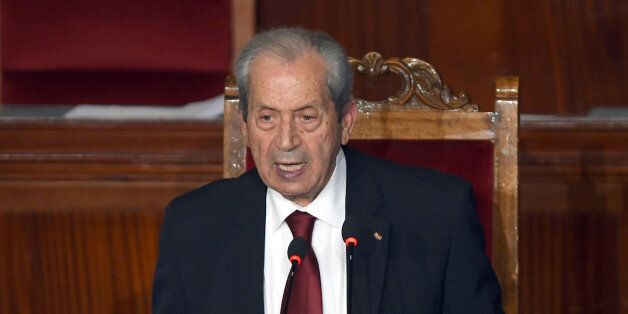 The new president of the Tunisian parliament, Mohamed Ennaceur, gives his first speech during a plenary...