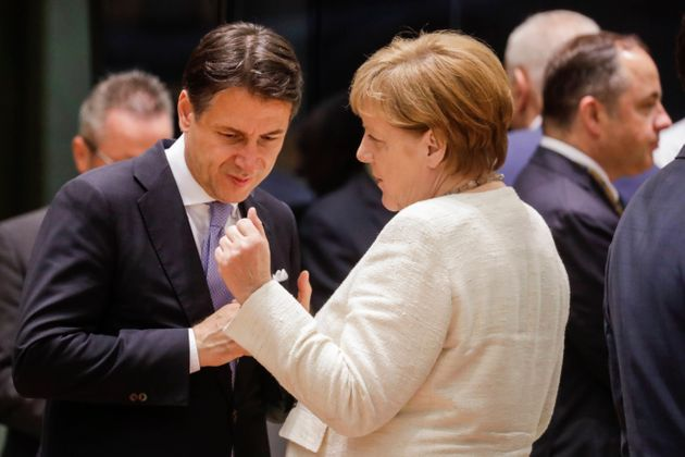 Prime Minister of Italy Giuseppe Conte and Chancellor of Germany Angela Merkel pictured during the first...
