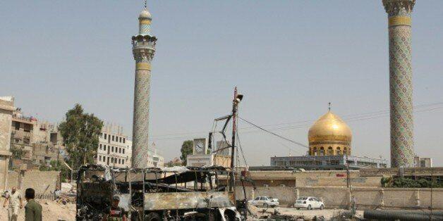 Le mausolée de Sayeda Zeinab près de Damas, haut lieu de pèlerinage chiite, après un attentat suicide...