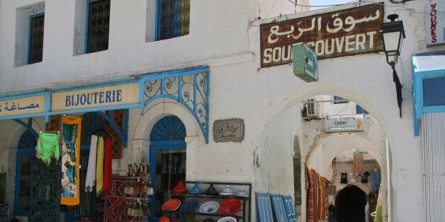 In this photo taken Sunday, July 9, 2011 an empty market is seen in the town of Houmet Souq on the island...