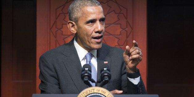 President Barack Obama speaks to members of the Muslim-American community at the Islamic Society of Baltimore,...