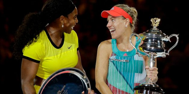 Angelique Kerber, right, of Germany talks with Serena Williams of the United States during the awarding...