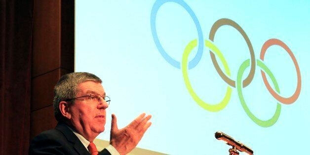 IOC President Thomas Bach speaks during a sporting awards ceremony of Greek athletes in Athens on Wednesday,...