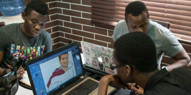 Des dessinateurs travaillent sur des projets de bandes dessinées dans les bureaux de Comic Republic,...