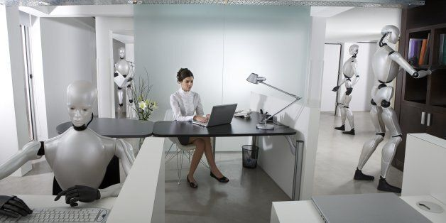 Businesswoman and Robots working at