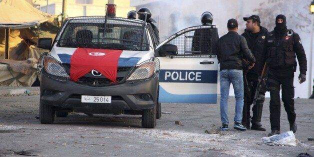 Police forces gather in the city of Ennour, near Kasserine, Tunisia, Wednesday, Jan. 20, 2016. Tunisia...