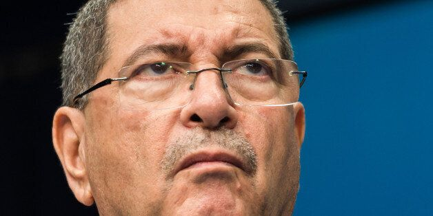 Tunisia's Prime Minister Habib Essid addresses the media at the EU Council building in Brussels on Monday...