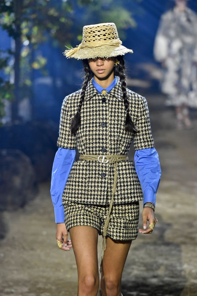 PARIS, FRANCE - SEPTEMBER 24: A model walks the runway during the Christian Dior Ready to Wear Spring/Summer...