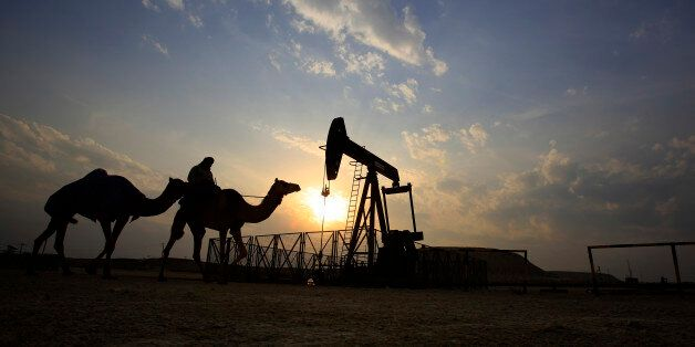 A man rides a camel through the desert oil field and winter camping area of Sakhir, Bahrain, Sunday,...