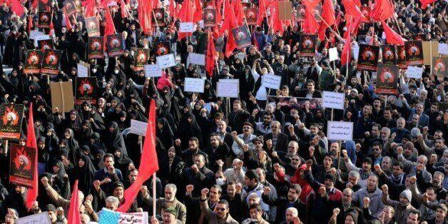 Manifestation le 4 janvier 2016 à Téhéran contre l'exécution de Nimr al-Nimr en
