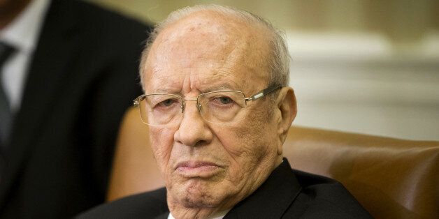 Tunisian President Beji Caid Essebsi listens during his meeting with President Barack Obama in the Oval...