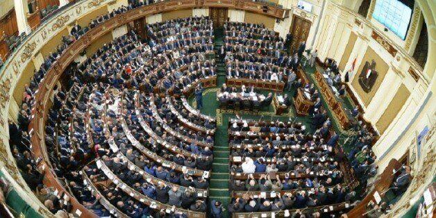 Vue d'ensemble du Parlement égyptien, dont les nouveaux membres se réunissent pour la première fois,...