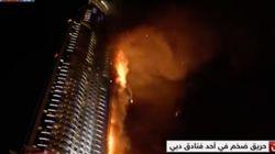 Un énorme incendie en cours dans une tour qui abrite un hôtel à