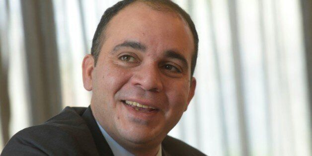 Le Prince Ali bin al-Hussein de Jordanie, candidat à la présidence de la Fifa, lors d'un entretien avec...
