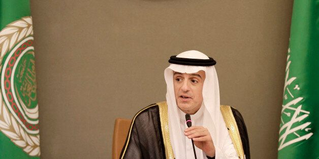 Saudi Arabia's Foreign Minister Adel bin Ahmed Al-Jubeir addresses journalists during a press conference...