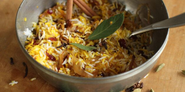This September 28, 2015 photo shows berry pilaf in Concord, NH. Author Madhur Jaffrey's newest book,...