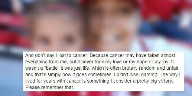 Cancer du sein: Dans un texte post-mortem, une victime célèbre la beauté de la