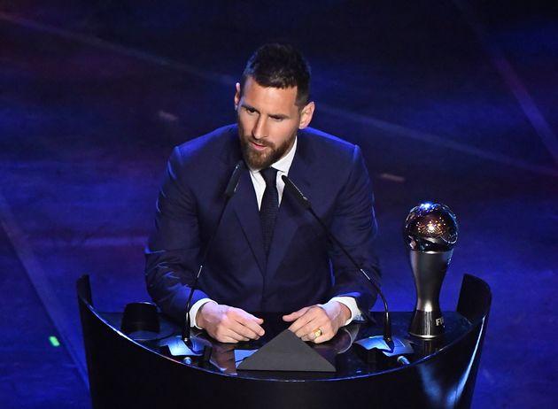 Messi, al recoger el premio The Best al mejor jugador de