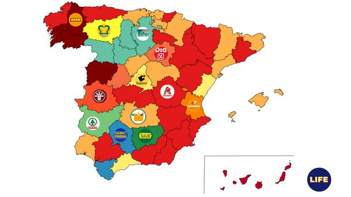 Mapa de supermercados más baratos de España, por provincias.