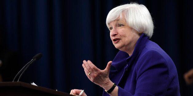 La présidente de la FED, Janet Yellen, au cours d'une conférence de presse à Washington, mercredi 16...
