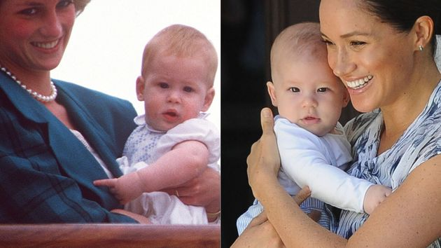 Prince Harry in 1985 and Master Archie in