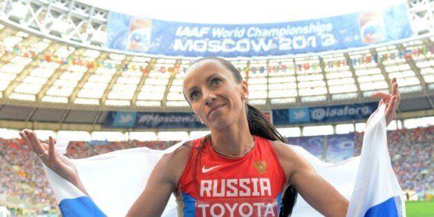 La demi-fondeuse Mariya Savinova, symbole du dopage russe, ici médaillée d'argent lors des Mondiaux de...