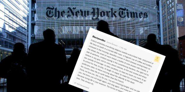 Le beau commentaire d'un lecteur du New York Times sur les attentats de Paris a touché les internautes