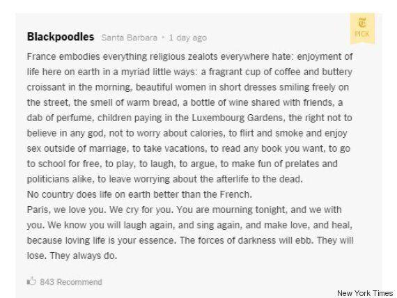 Le beau commentaire d'un lecteur du New York Times sur les attentats de