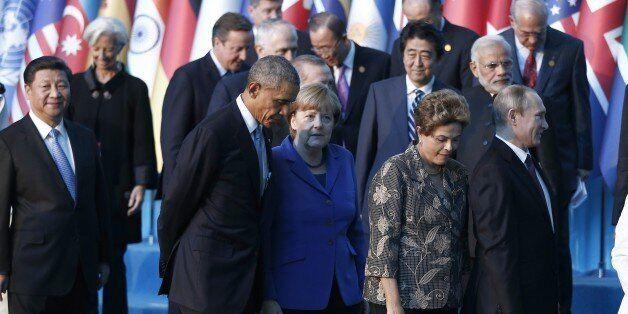 ANTALYA, TURKEY - NOVEMBER 15: (Front row L-R) Chinese President Xi Jinping, US President Barack Obama,...
