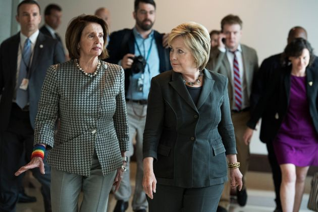 UNITED STATES - JUNE 22: Democratic presidential candidate Hillary Clinton, right, arrives with House...