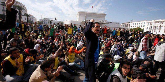Des diplômés chômeurs marocains lors d'une manifestation en novembre 2011 à