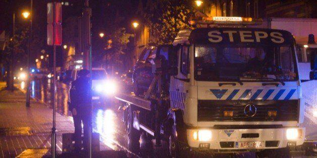 Un raid de la police belge dans le quartier de Molenbeek à Bruxelles, en lien avec les attentats de Paris...