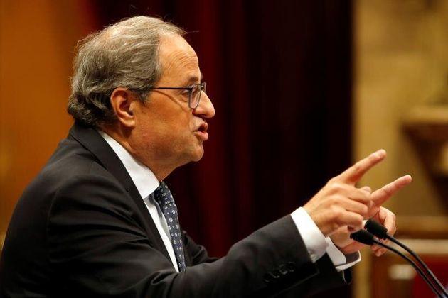 El presidente de la Generalitat, Quim Torra, en un debate en el
