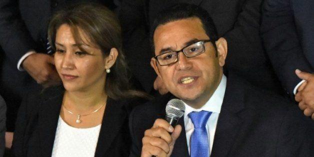 Le nouveau président du Guatemala, Jimmy Morales, candidat du parti de droite FCN-Nacion, le 25 octobre...