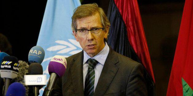United Nations envoy for Libya Bernardino Leon gestures as he speaks to the media in Skhirat, Morocco,...