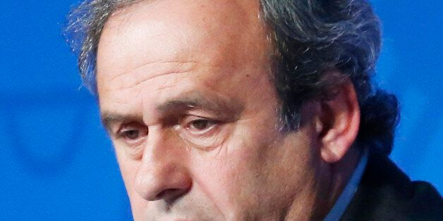 FILE - In this June 10, 2015 file photo UEFA President Michel Platini attends a press conference to mark...