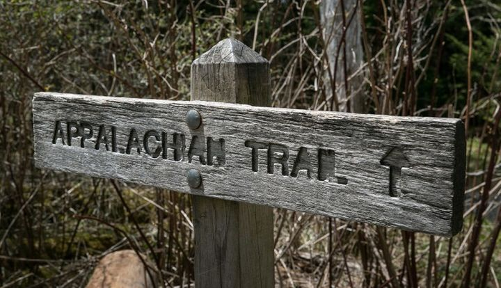 A trail sign for the Appalachian Trail in  Cherokee, North Carolina.