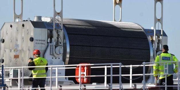 Un container transportant du combustible nucléaire (Photo