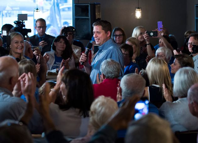 Conservative Leader Andrew Scheer makes a campaign stop in London, Ont., on Sept. 24,