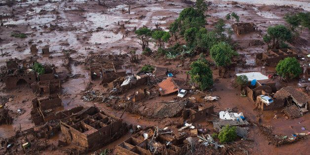 Aerial view of the debris after a dam burst on Thursday, at the small town of Bento Rodrigues in Minas...