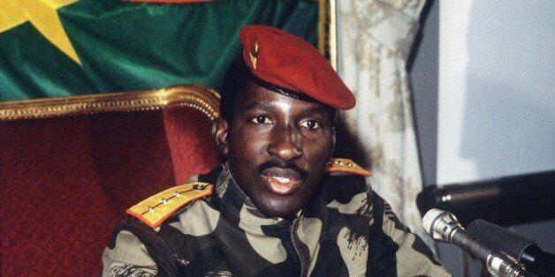 Le président défunt du Burkina Faso, Thomas Sankara, le 7 février 1986 à Paris © AFP/Archives PASCAL
