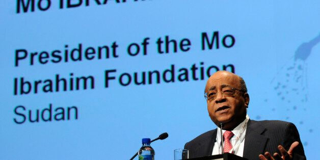 The president of the Mo Ibrahim Foundation, Mo Ibrahim of Sudan, addresses the 5th European Development...