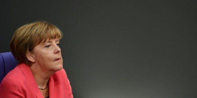 La chancelière allemande Angela Merkel au Bundestag à Berlin, le 24 septembre