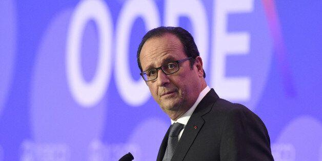 French President François Hollande delivers remarks